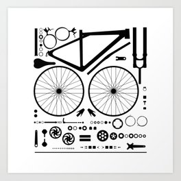 Bike Parts Exploded Art Print