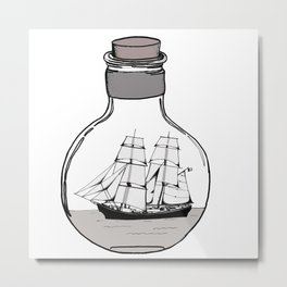 The ship in the glass bulb . Art . Metal Print