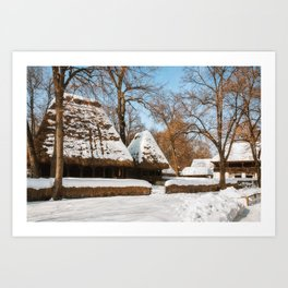 Season Greetings from a picturesque Romanian Village Art Print