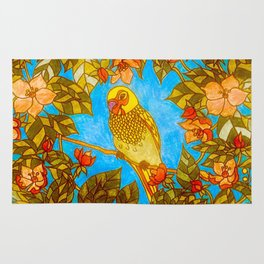 Colourful Yellow Parakeet In Flowery Wreath Rug
