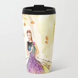 Autumn Girl Watercolor Illustration. Travel Mug
