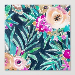 SO CASUAL Dark Tropical Palm Floral Canvas Print