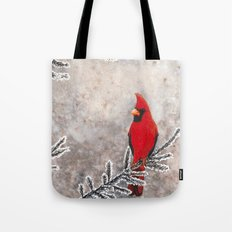 The Red Cardinal in winter Tote Bag
