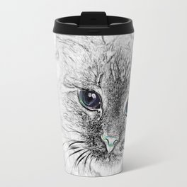 Siberian Kitty Cat Laying on the Marble Slab Travel Mug
