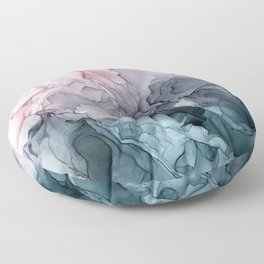 Blush and Paynes Gray Flowing Abstract Reflect Floor Pillow