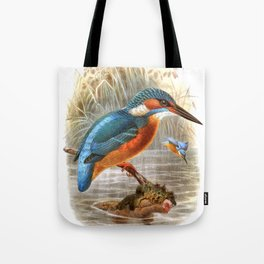Vintage print,colorful poster of Kingfisher Tote Bag