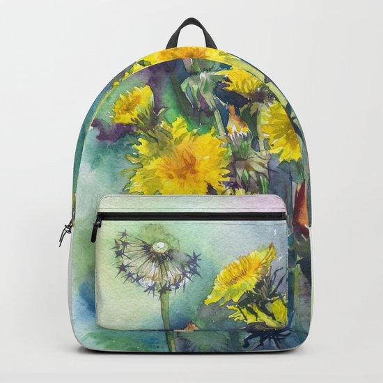 Watercolor dandelion flowers illustration Backpack