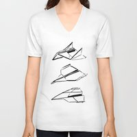 planes V-neck T-shirts featuring Paper Planes by Katy Shorttle