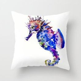 Blue Coral Seahorse, coral reef animals sea world blue purple decor Throw Pillow