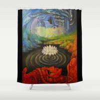 maori Shower Curtains featuring Earth-and-Sky by Waelad Akadan
