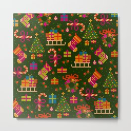 christmas x stitch pattern for the holiday mood Metal Print