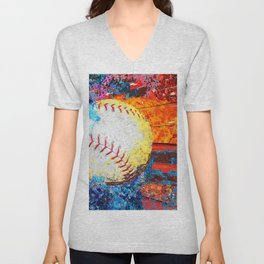 Colorful Baseball Art Unisex V-Neck