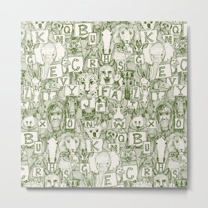 animal ABC green ivory Metal Print
