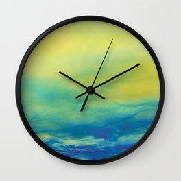 YELLOW & BLUE TOUCHING #1 #abstract #art #society6 Wall Clock