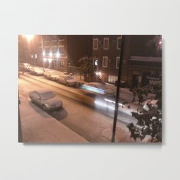 A snowy night in NYC Metal Print