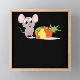 Cute Cartoon Fruit Mouse Animal Design Framed Mini Art Print