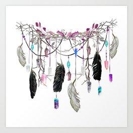 Raven Feathers And Roses Crystal Spirit Gazer Art Print