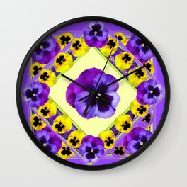 PURPLE GEOMETRIC  PURPLE & YELLOW  PANSIES  WITH CREAM COLOR Wall Clock