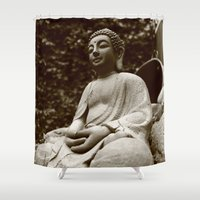 buddha Shower Curtains featuring Buddha by Falko Follert Art-FF77