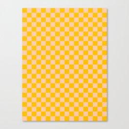Deep Peach Orange and Amber Orange Checkerboard Canvas Print