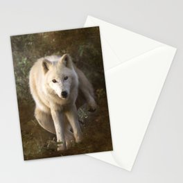White wolf having a pee Stationery Cards