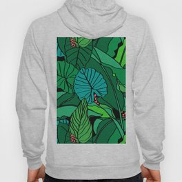Jungle Leaves Illustrated in Black Hoody
