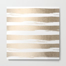 White Gold Sands Painted Thick Stripes Metal Print