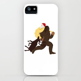 Bigfoot kidnapping Santa Claus his gifts and his reindeer iPhone Case