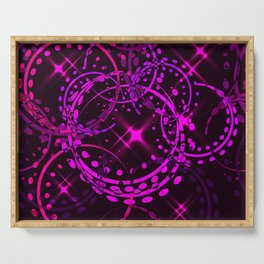 Metallic stars and rings in lilac shades on night sky background. Serving Tray