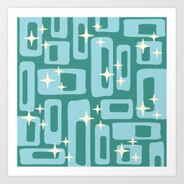 Retro Mid Century Modern Abstract Pattern 579 Teal and Blue Art Print
