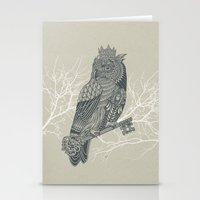 king Stationery Cards featuring Owl King by Rachel Caldwell