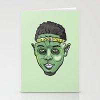 kendrick lamar Stationery Cards featuring Kendrick Lamar Yoda by Sneaker Pie