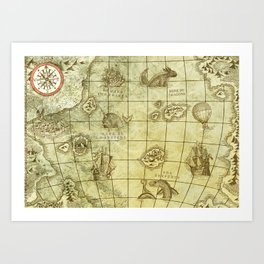 Here Be Monsters Map Art Print