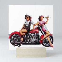 Classic Bike pin up Mini Art Print