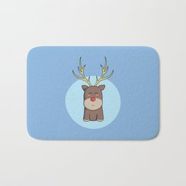 Cute Kawaii Christmas Reindeer Bath Mat