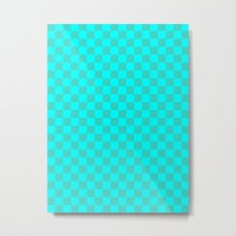 Cyan and Turquoise Checkerboard Metal Print