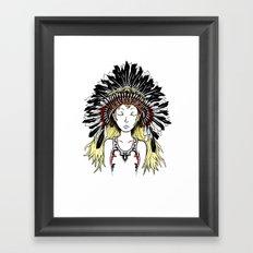 Native American Girl (colored) Framed Art Print