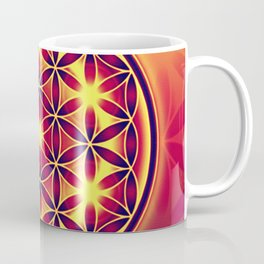FLOWER OF LIFE batik style yellow red Coffee Mug