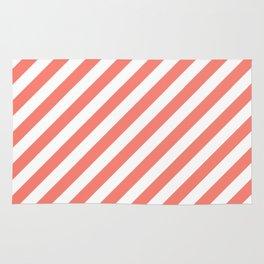 Diagonal Stripes (Salmon/White) Rug