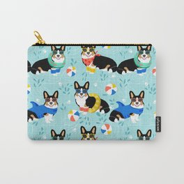 Corgi tri colored corgis pool party dog breed cute custom pet portrait by pet friendly Carry-All Pouch