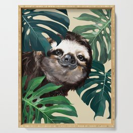 Sneaky Sloth with Monstera Serving Tray