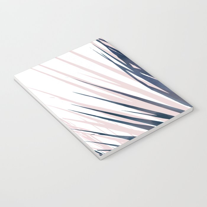 Contemporary Palm Leaf in Navy Blue and Blush Pink Notebook