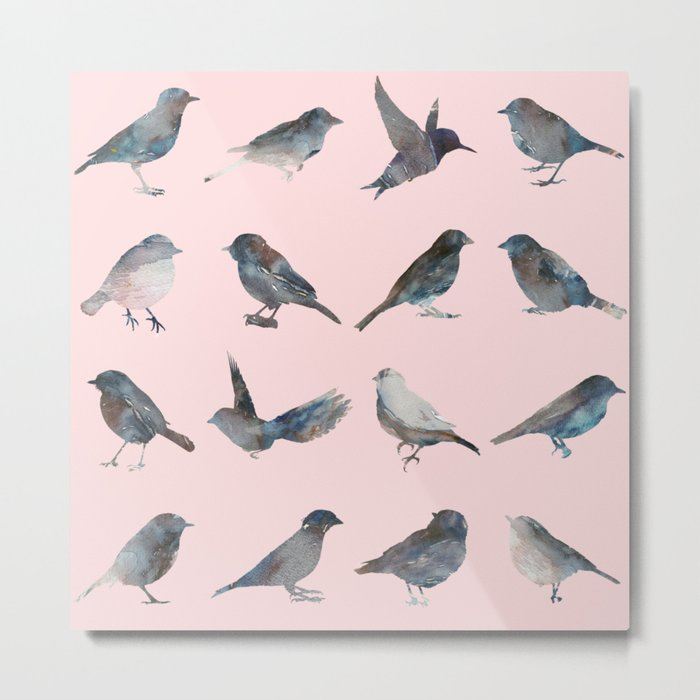 Sparrow Catalog Pink Metal Print