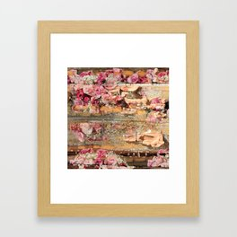 Worn Wood & Old Roses Framed Art Print