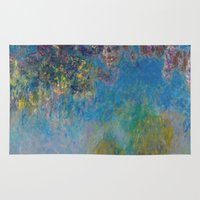 monet Area & Throw Rugs featuring Wisteria by Claude Monet by Palazzo Art Gallery