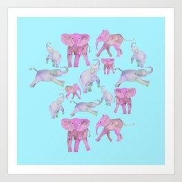 Pink and Lavender Elephants Art Print