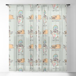 After Coffee Pug Sheer Curtain