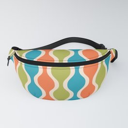 Classic Retro Ogee Pattern 841 Orange Green and Turquoise Fanny Pack