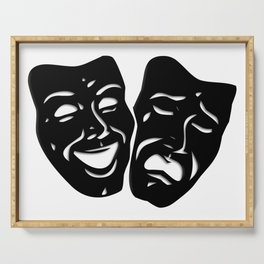 Theater Masks of Comedy and Tragedy Serving Tray