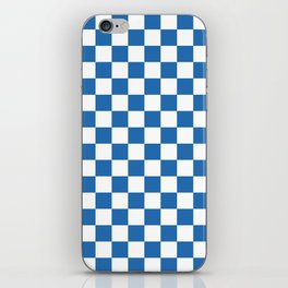 Gingham Azure Strong Blue Checked Pattern iPhone Skin